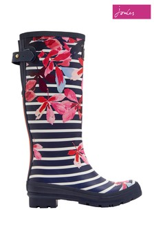 Joules Leaf Stripe Print Tall Welly