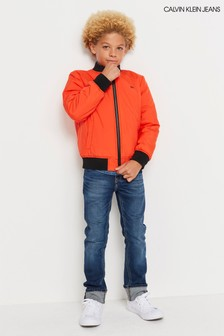 Calvin Klein Jeans Orange Satin Bomber Jacket