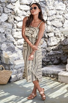 Mono Stripe Ruffle Dress