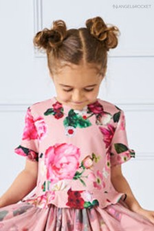 Angel & Rocket Pink Floral Sleeve Top
