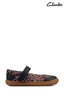 Clarks Navy Combi Side Flash Stripe T Shoes