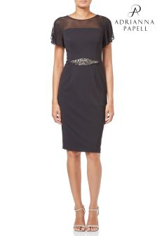 Adrianna Papell Black Short Crepe Dress