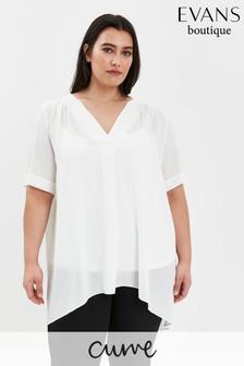 Evans Curve White Boutique Textured Top