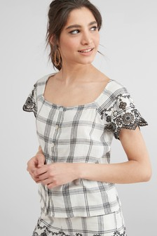 Co-ord Embroidered Hem Detail Top