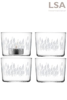 Set of 4 LSA International Fir Tealight Holders