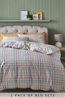 2 Pack Hattie Check Duvet Cover And Pillowcase Set