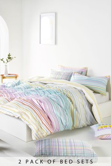 2 Pack Stripe And Check Duvet Cover and Pillowcase Set