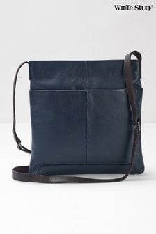 Niebieska, skórzana torebka na ramię White Stuff Issy