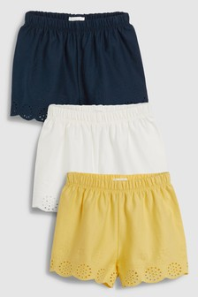 Broderie Shorts Three Pack (3mths-7yrs)