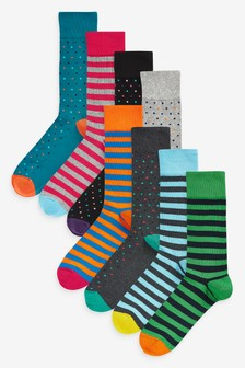 Spot And Stripe Socks Eight Pack