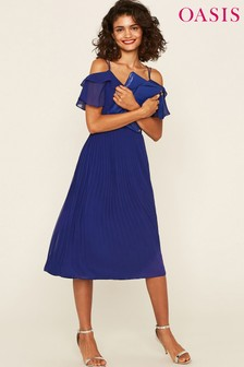 Oasis Blue Chiffon Midi Dress