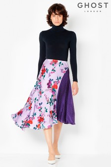 Ghost London Lilac Carolyn Satin Floral Spot Skirt