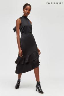 Warehouse Black Tie Back Ruffle Midi Dress