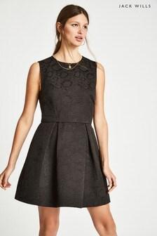 Jack Wills Black Deerham Jacquard Dress
