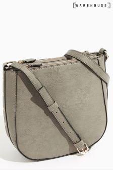Warehouse Grey Eyelet Detail Crossbody Bag