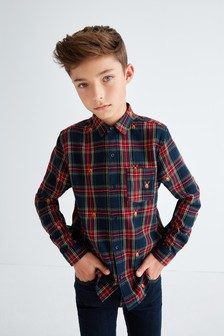 Long Sleeve Reindeer Embroidered Check Shirt (3-16yrs)