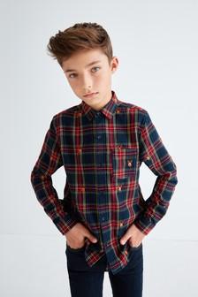 חולצה משובצת רקומה עם שרוול ארוך בדוגמת איילים (גילאי 3 עד 16)