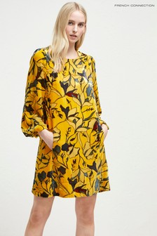 French Connection Yellow Balloon Sleeve Dress