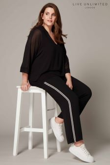 Live Unlimited Black Woven Side Stripe Trouser
