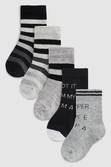 Slogan Socks Five Pack (Younger)