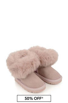 Monnalisa Girls Pink Suede & Glitter Boots