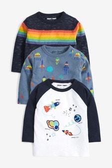 3 Pack Long Sleeve Rainbow Space T-Shirts (3mths-7yrs)