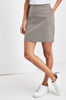 Dogtooth Check Mini Skirt
