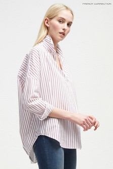 French Connection White/Pink Oversized Striped Shirt