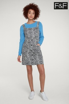 F&F Multi Snake Jacquard Pinny Dress