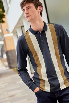 Long Sleeve Blocked Slim Fit Polo