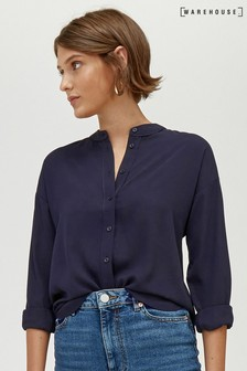Warehouse Long Sleeve Satin Tipped Blouse