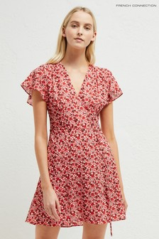 French Connection Red Eden Crepe Wrap Dress