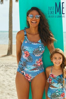 Matching Family Womens Hawaiian Print Scoop Swimsuit