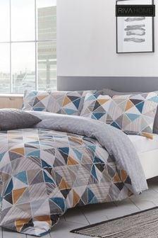 Riva Home Harlequin Set mit Bettbezug und Kissenbezug mit geometrischem Muster