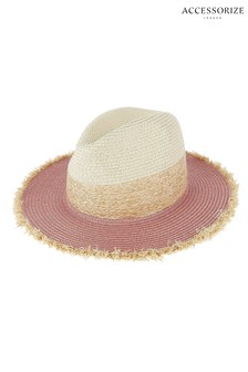 Accessorize Pink Frayed Edge Fedora