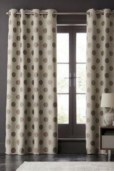 Polka Dot Jacquard Eyelet Curtains