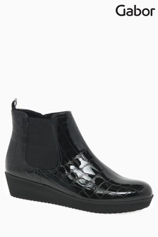 Gabor Black Ghost Croc Patent Boot