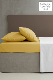 Catherine Lansfield Yellow Percale Fitted Sheet