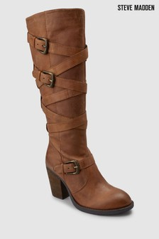 59975cbb7ee Steve Madden Cognac Yikkel Knee High Buckled Boot