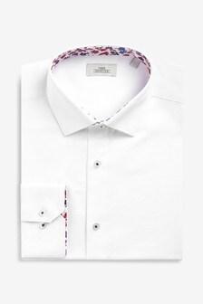 Textured Regular Fit Floral Trim Shirt