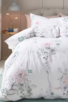 Watercolour Floral Tencel® Blend Duvet Cover and Pillowcase Set
