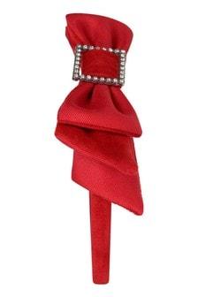 Girls Red Bow Headband