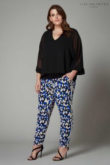 Live Unlimited Blue Multi Layered Print Trouser