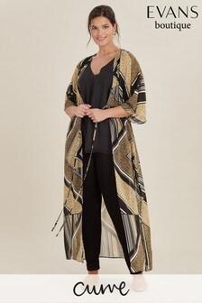 Evans Multi Dark Curve Animal Print Kimono