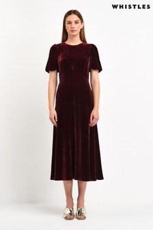 Whistles Dark Red Silk Mix Velvet Dress
