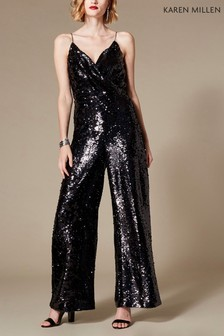 Karen Millen Black Holographic Sequin Jumpsuit
