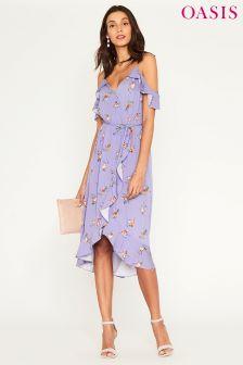 Oasis Purple Provence Cold Shoulder Midi Dress