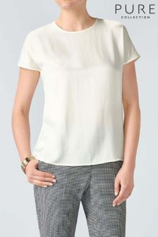 Pure Collection White Silk Satin T-Shirt