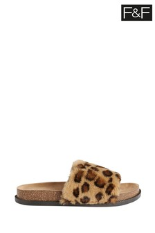 F&F Brown Faux Fur Footbed Animal Print Slippers