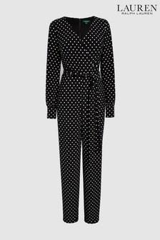 Lauren Ralph Lauren Polka Dot Long Sleeve Jumpsuit